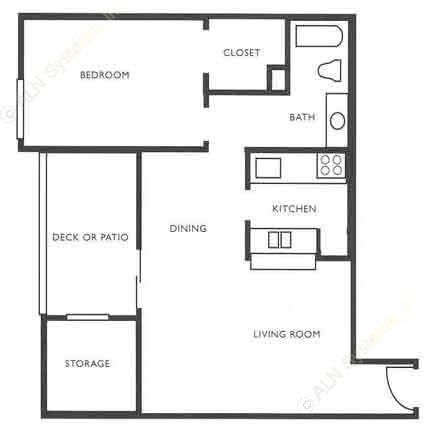 720 sq. ft. A4 Fireplace + WD Connects floor plan