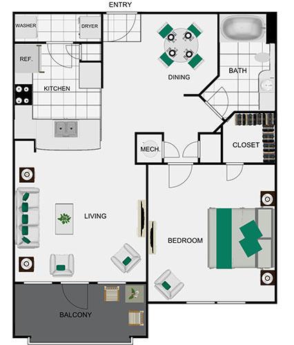 770 sq. ft. A2 floor plan