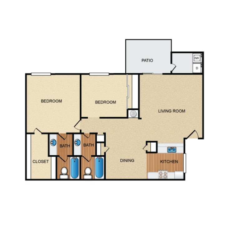 968 sq. ft. B1 floor plan