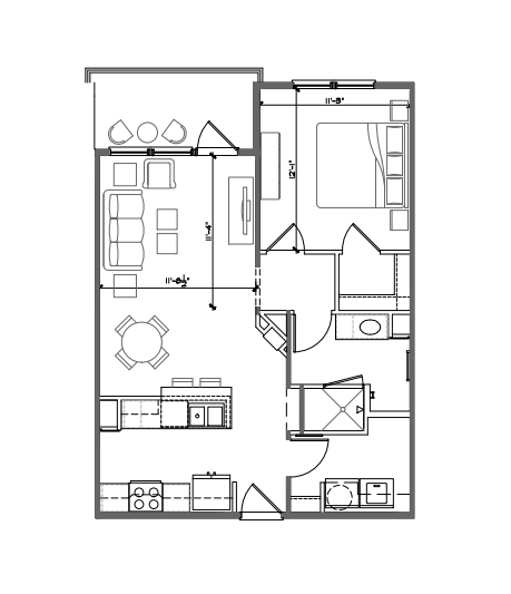 717 sq. ft. A1 ALT floor plan
