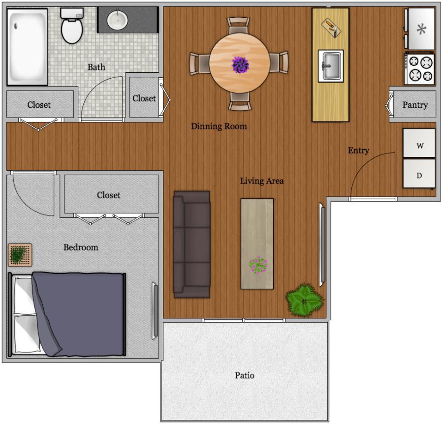 650 sq. ft. A-1 floor plan