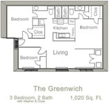 1,020 sq. ft. GREENWICH floor plan