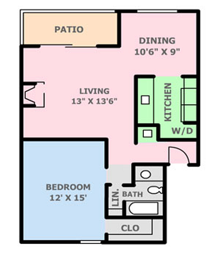 690 sq. ft. 1A floor plan