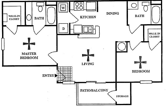 835 sq. ft. B1 floor plan