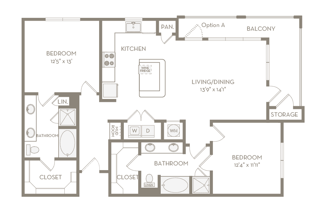1,275 sq. ft. B3 floor plan