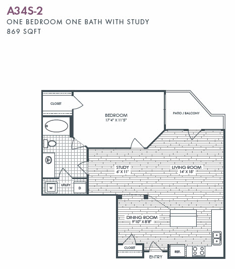 869 sq. ft. A34S-2 floor plan