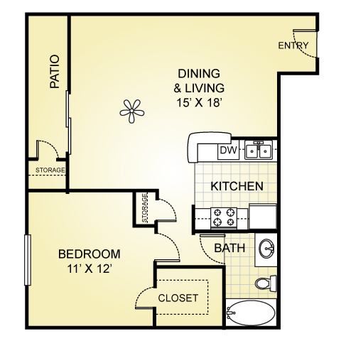 662 sq. ft. A-3 floor plan