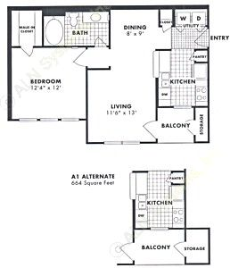 664 sq. ft. Magnolia floor plan