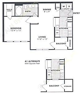 664 sq. ft. Magnolia floor plan