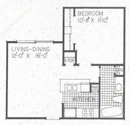 534 sq. ft. A1B floor plan
