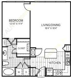 774 sq. ft. to 775 sq. ft. A1/60% floor plan