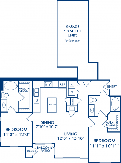 1,129 sq. ft. TORI floor plan
