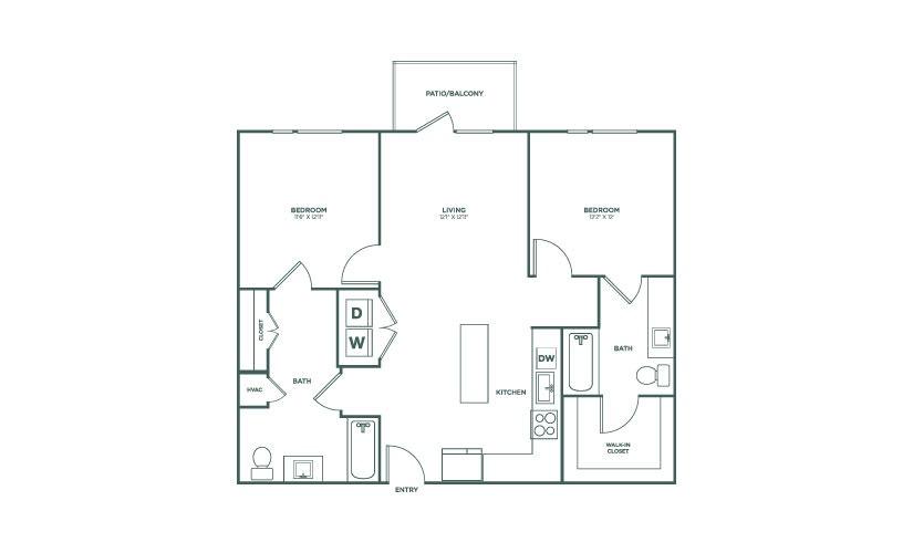 1,042 sq. ft. B1HC floor plan