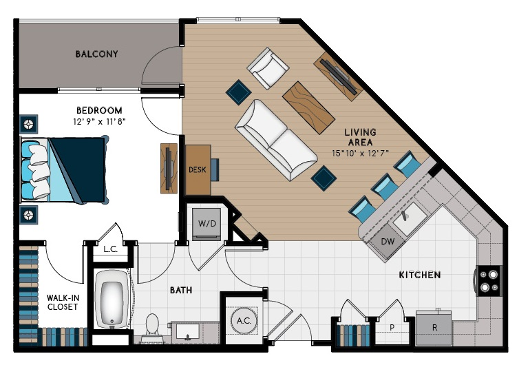 831 sq. ft. 1D floor plan