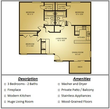 1,064 sq. ft. Mkt floor plan