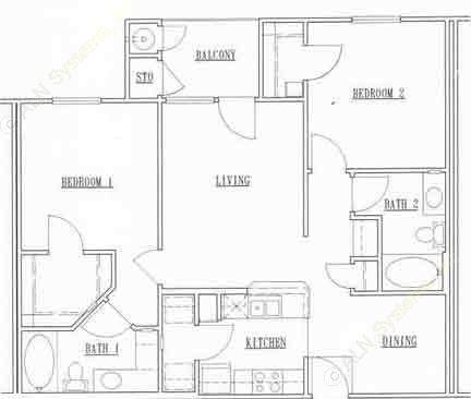 1,133 sq. ft. 32A floor plan
