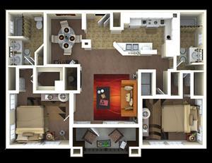 1,245 sq. ft. B3 floor plan