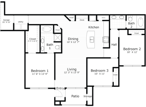1,340 sq. ft. Norwalk floor plan