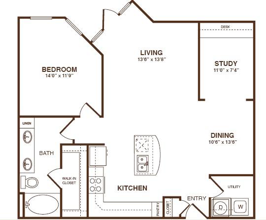 981 sq. ft. B1 floor plan
