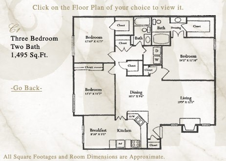 1,495 sq. ft. C1 floor plan