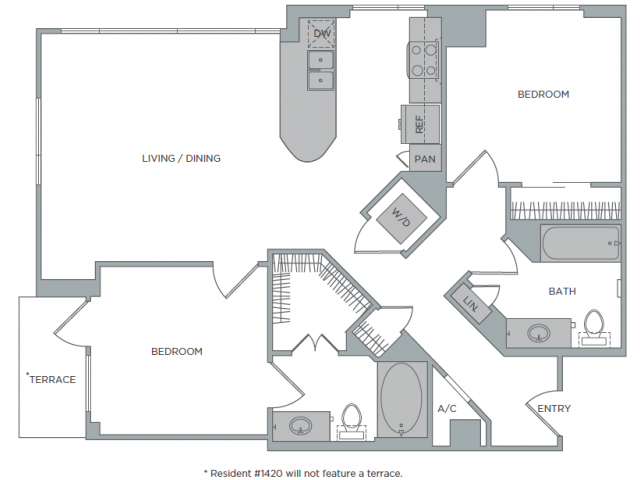 1,048 sq. ft. 2A floor plan