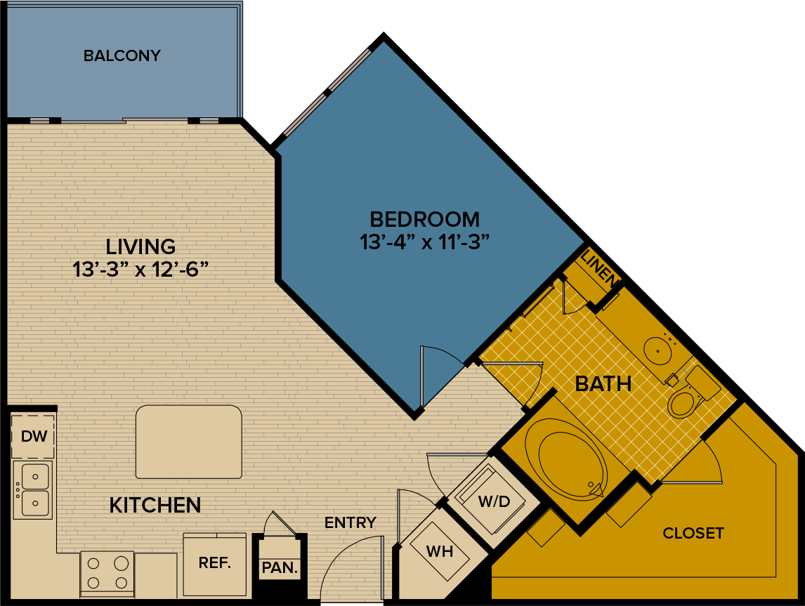 767 sq. ft. A7 floor plan