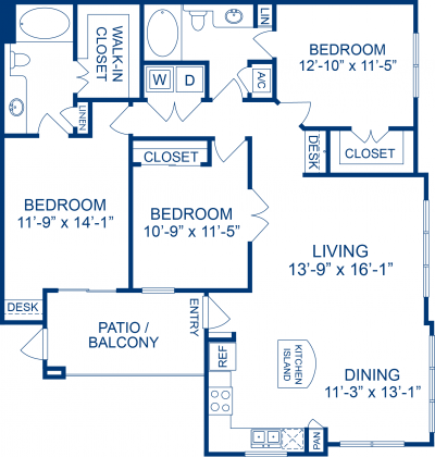 1,380 sq. ft. C2 floor plan