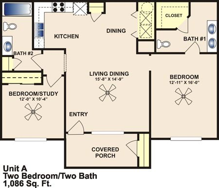 1,086 sq. ft. Mkt floor plan