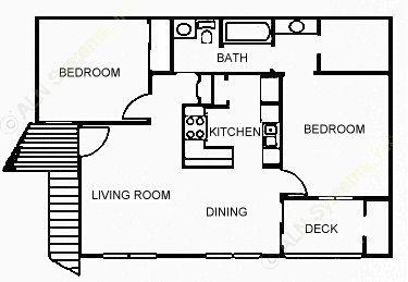 837 sq. ft. D floor plan