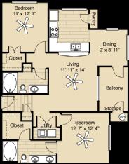 1,049 sq. ft. Utopia floor plan