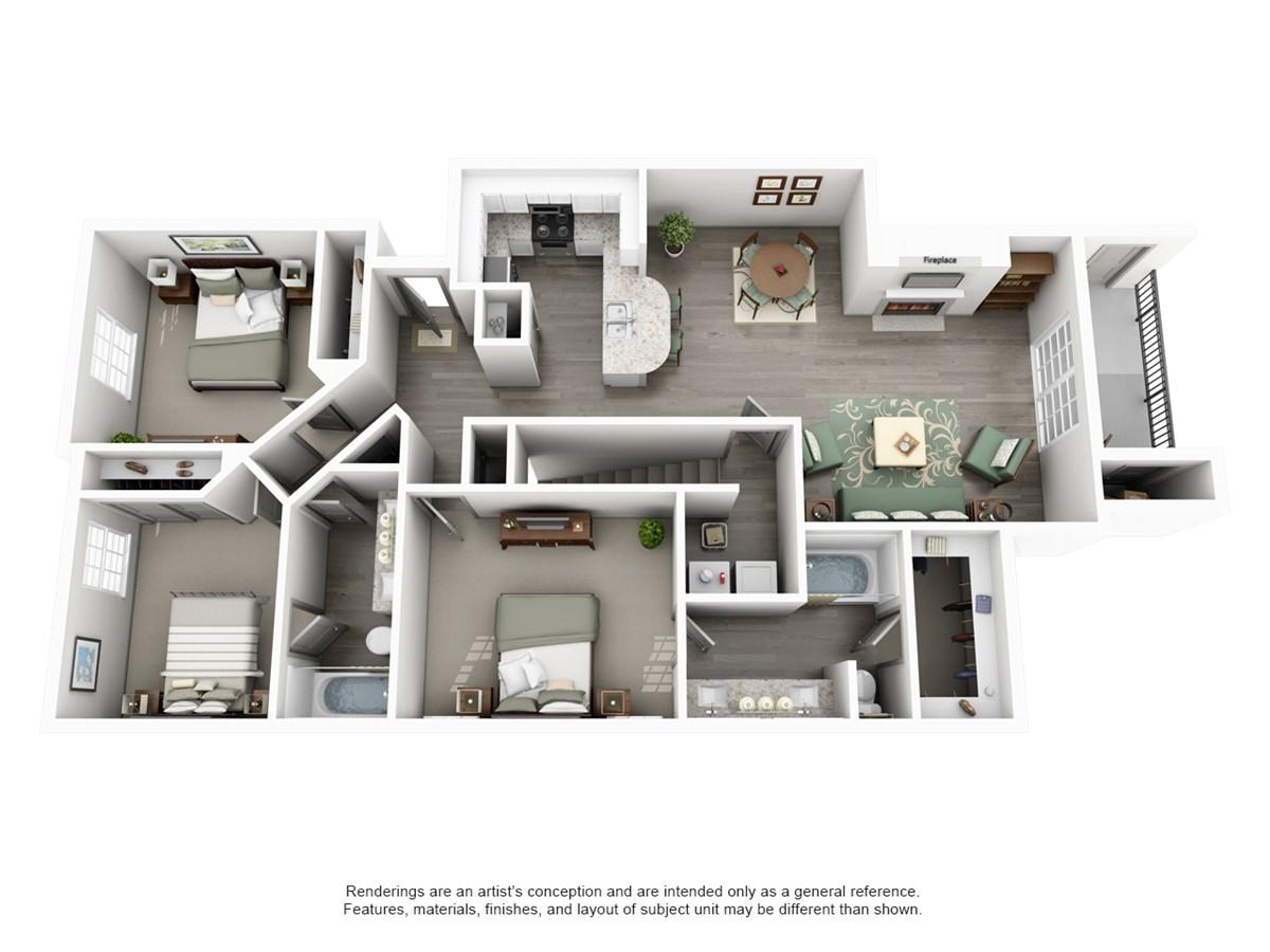 1,322 sq. ft. CREST floor plan