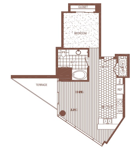 821 sq. ft. Plan A (A1A) floor plan