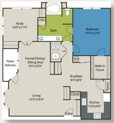 1,198 sq. ft. A10 floor plan