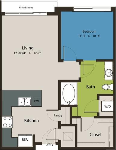 726 sq. ft. A48 floor plan