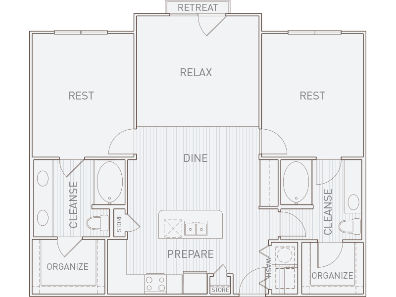 1,180 sq. ft. B2-J floor plan