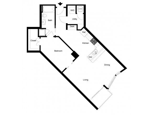892 sq. ft. 1K floor plan