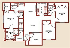 1,251 sq. ft. to 1,257 sq. ft. Mkt floor plan