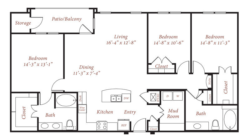 1,566 sq. ft. C1 floor plan