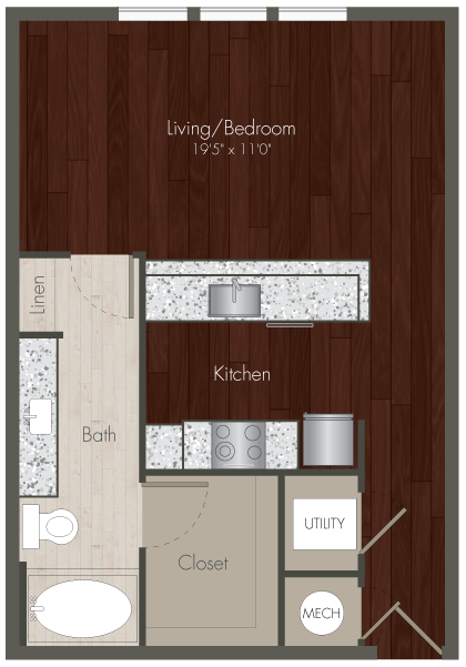 580 sq. ft. E1 floor plan
