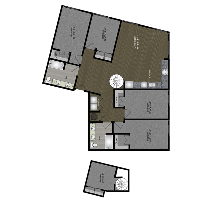 1,754 sq. ft. Waterloo Loft floor plan