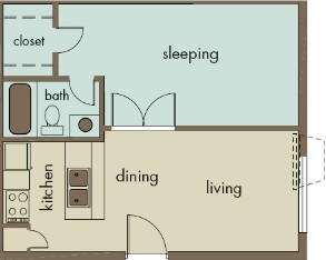 486 sq. ft. A1/RADIANCE floor plan