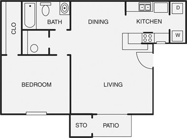 687 sq. ft. B floor plan