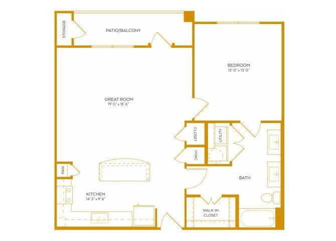867 sq. ft. A6 floor plan
