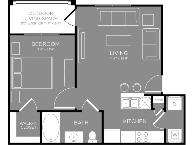 652 sq. ft. Avenue floor plan