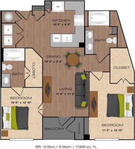 1,022 sq. ft. B5 floor plan