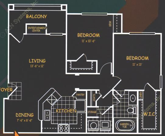 925 sq. ft. B1 floor plan