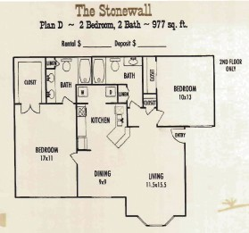 977 sq. ft. Stonewall floor plan