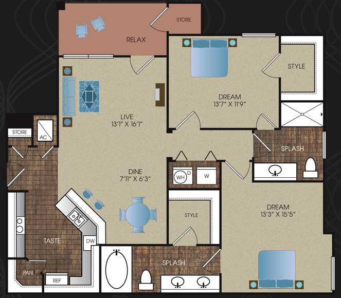 1,095 sq. ft. to 1,281 sq. ft. B1 floor plan