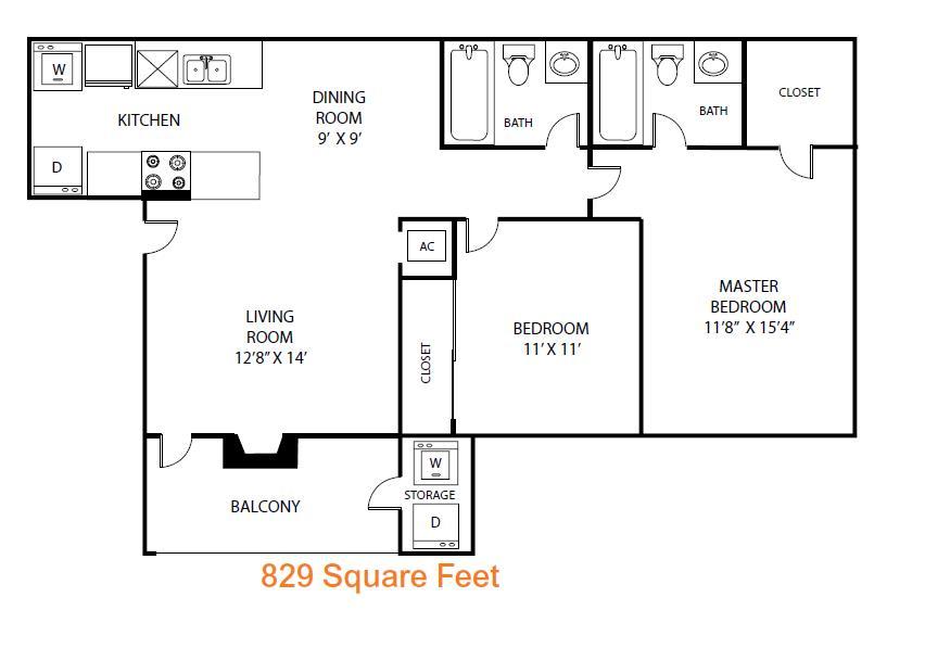 829 sq. ft. Cypress floor plan