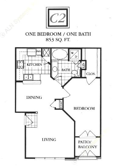 853 sq. ft. C2 floor plan